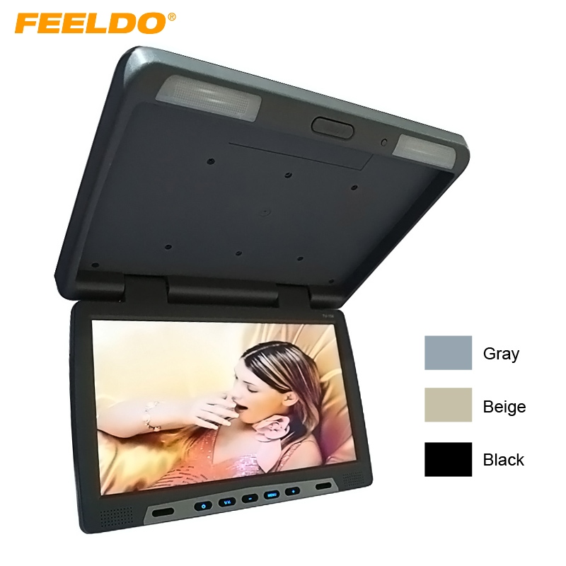 FEELDO Car Bus 15.6 inch Roof Mounted LCD Monitor Flip Down LCD Monitor for Car DVD 3-Color #AM1292 12v truck bus 17 inch tft lcd roof mounted monitor flip down monitor for car dvd player tv usb sd fm vga speaker ca1294 12v page 5 page 9