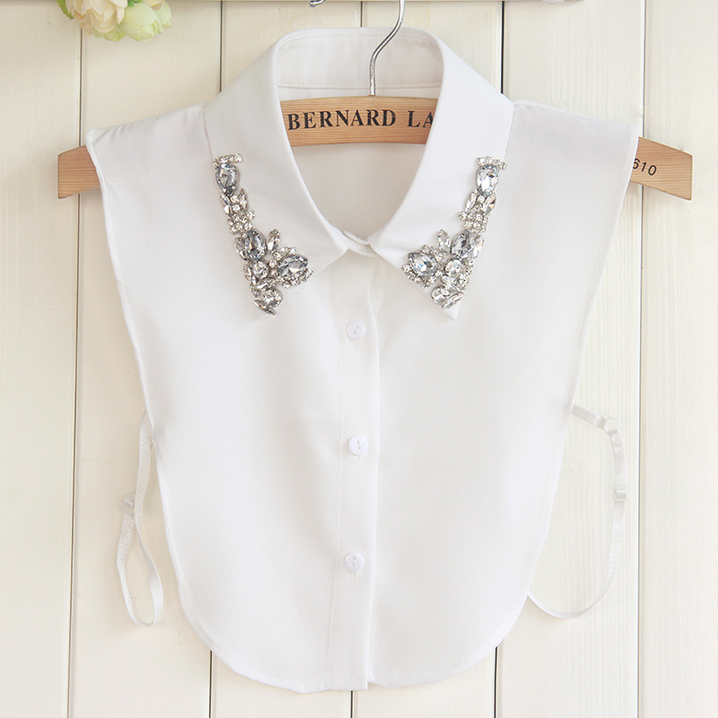 Korean High Grade Crystal Diamonds Women Fake Collar Chiffon Shirt  Removable Peto Mujer Chemisier Daily Faux Cols China Garment