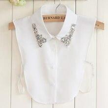Корейская Высококачественная женская шифоновая рубашка со стразами и фальшивым воротником, съемная Повседневная рубашка от Peto Mujer Chemisier, ис...