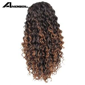 Image 3 - Anogol עמידה בחום חום Ombre שורשים כהים Glueless סינטטי ארוך קינקי מתולתל טבעי שיער פאות לנשים