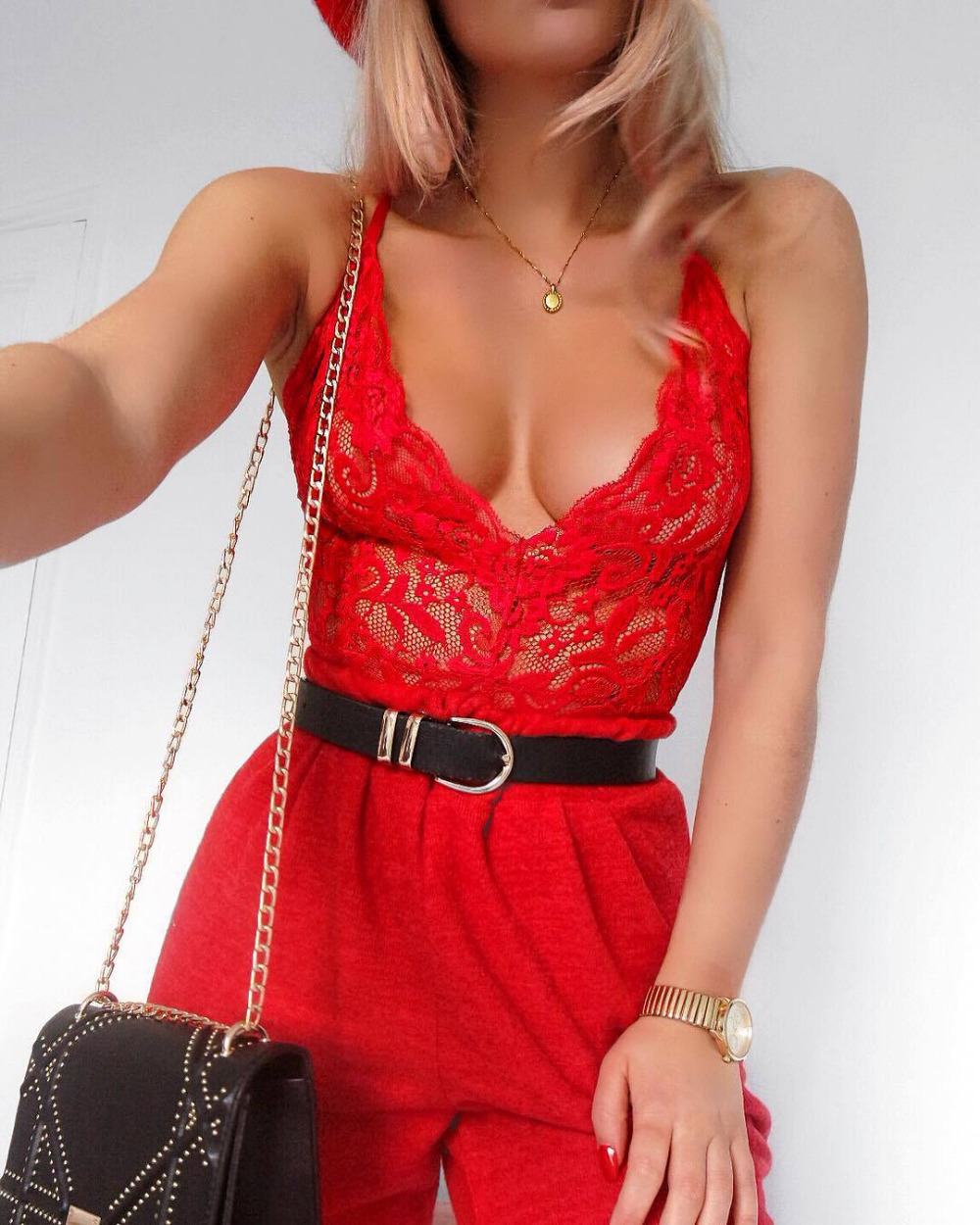 Red See Through Sheer Lace Plunge Lingerie Bodysuit