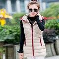 New Winter Fashion Women Cotton Ma3 jia3 Hooded Light Warm Eiderdown Cotton Vest Elegant Slim Big yards Medium long Coat G1929