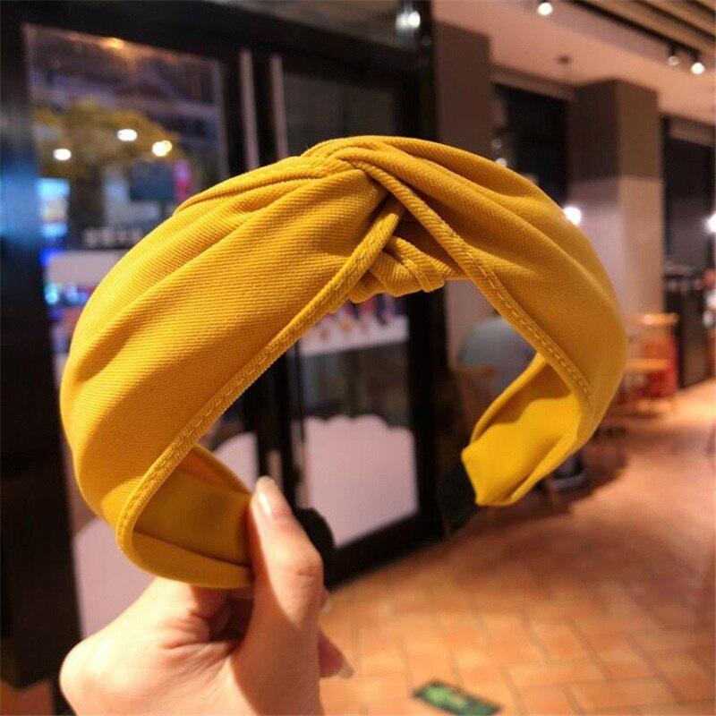 1 pc femmes lunette mode Style coréen bandeau femme filles décontracté élégant tissu croix couleur uni cheveux accessoires chapeaux 25