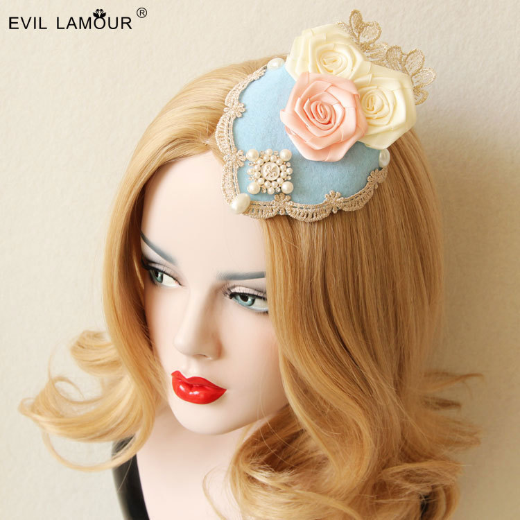 Princess lolita hat romantic  hair pin Lolita ms royal rose lace pearl luxury spring little hat Headdress hairpin FJ - 42