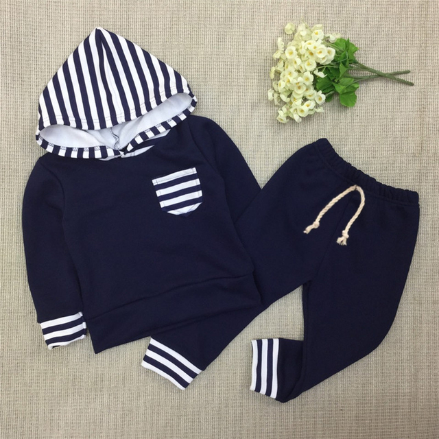 Baby Girls Floral Stripe Hoodie Sweatpants Sets Boys Hoodies Sets Kids Autumn Clothing Sets Cotton Sweatshirt  2017 Fashion C35