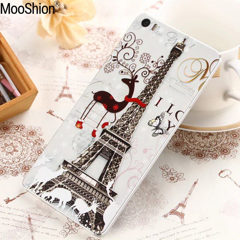 Mooshion Tower flowers Scenery Patterns battery Back Cases Cover For Xiaomi mi5 mi 5 Paint Hard PC Phone Cases Accessories