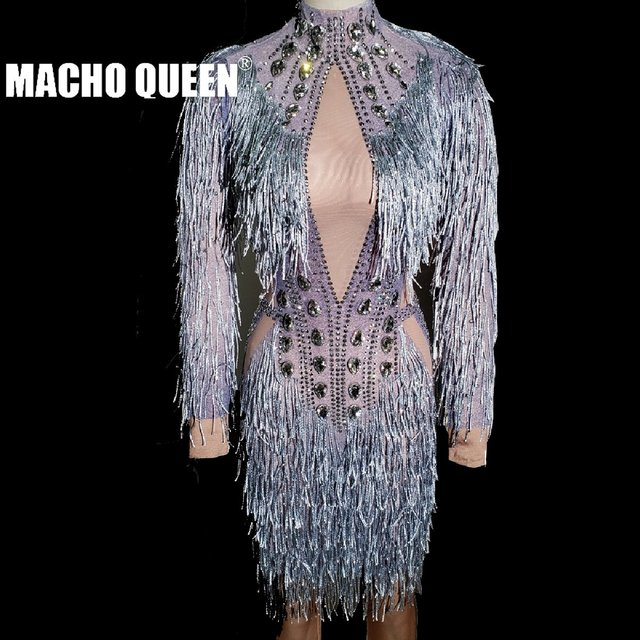 7561a325ff Sexy Drag Queen Costumes Rhinestone Event Party Fringe Dresses Sparkling  Tassel Performance Costumes Dance Outfits