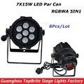 8 XLot Новый LED Света Этапа 7*15 W 5IN1 RGBWA Номинальной LED DMX этап Эффект Освещения DMX512 Master-Slave Led Par Can Для Диско DJ партия