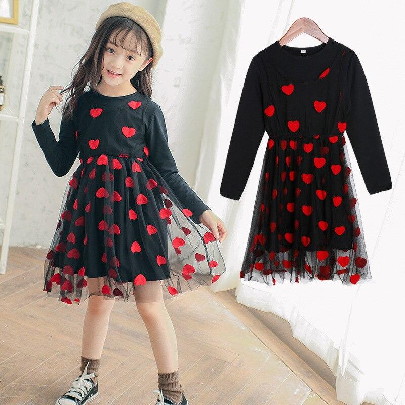 все цены на 5 - 16 Y Girls Dress for Autumn 2018 Kids Print Mesh Black Red O-neck Party Dresses Girls Cute Princess Dress Long Sleeve M510A