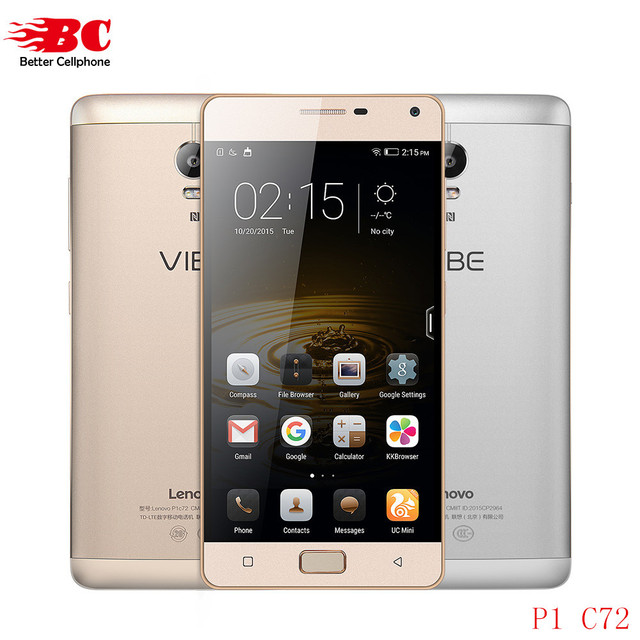 """Original Lenovo Vibe P1 C58 P1 C72 P1 Pro 5000mAh 4G LTE Qual-comm Octa Core 2G/3G RAM 16G 5.5"""" 13.0MP Android 6.0 Mobile Phones"""