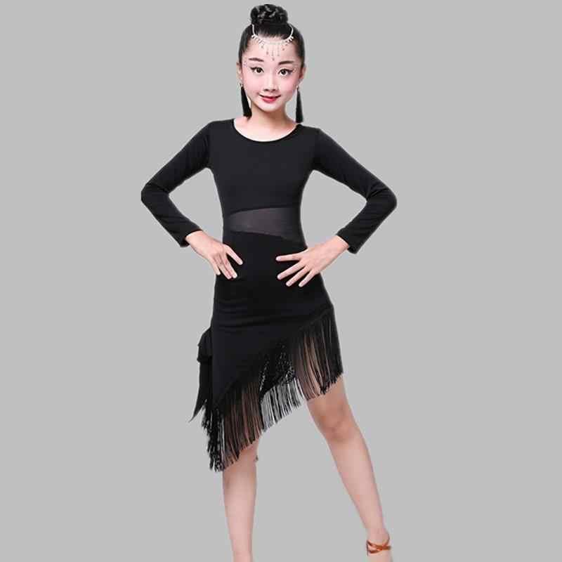Sukienka z frędzlami do tańca latynoamerykańskiego dla dziewczynek dzieci Salsa Tango sukienka do tańca towarzyskiego konkurs kostiumy dla dzieci praktyka odzież do tańca