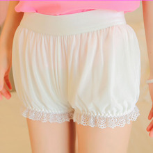 Japanese double gauze lace anti emptied modal cotton stretch gauze safety pants Lolita summer Soft Cosplay pumpkin shorts
