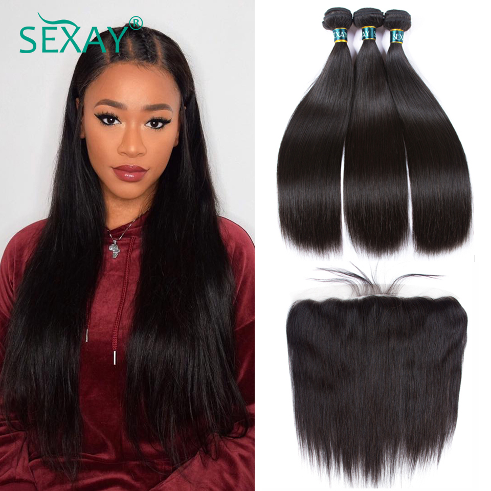 SEXAY 13x4 Lace Frontal Closure With Bundles Brazilian Straight Human Hair Weft With Closure 3 Bundles