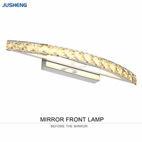 Hot Selling Chrome 10W LED Wall Lights with Crystal Top Mirror Lamp in Bathroom Lighting Fixtures 44cm long 100 240V AC