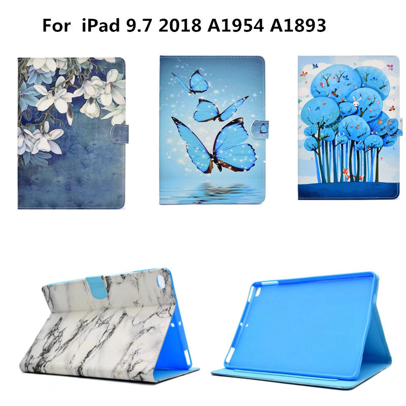 Flip Silicone TPU Back PU Leather Fashion Painted Case Cover Funda For New iPad 2018 9.7 inch A1954 A1893 2017 A1822 Tablet transparent tpu silicone back cover for new ipad 2017 model a1822 tablet cover for funda new ipad 2017 capa para stylus pen