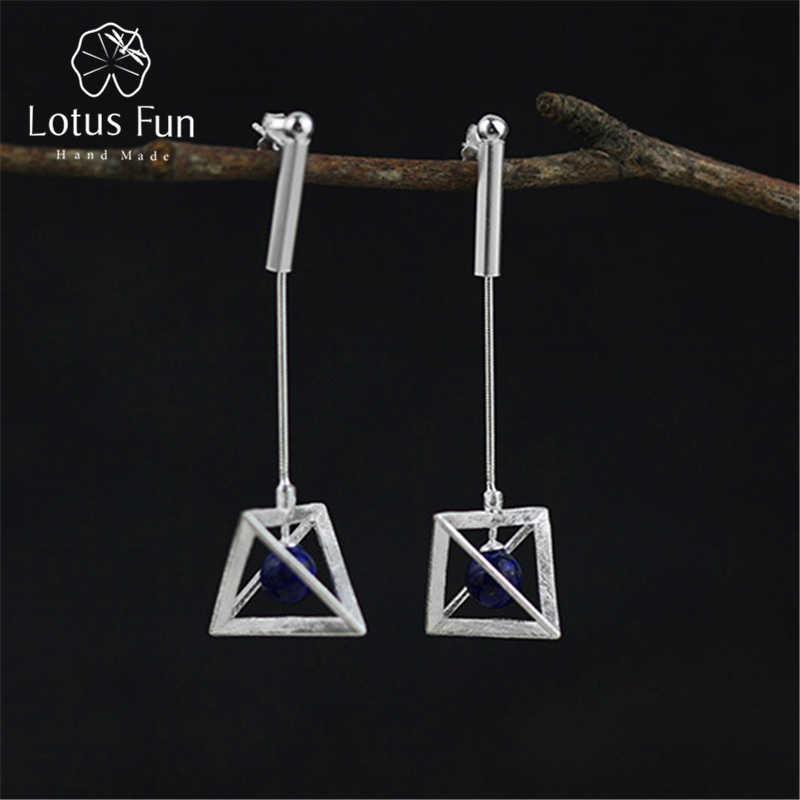 Lotus Fun реальные 925 Серебро Природный оригинальный ручной Fine Jewelry Творческий лампы Висячие серьги для женщин brincos