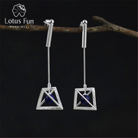 Lotus Fun Real 925 Sterling Silver Natural Original Handmade Fine Jewelry Creative Lamps Dangle Earrings for Women Brincos