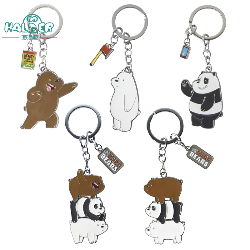 Halder We Bare Bears Ring Action Figures Toy Three Bare Bears Grizzly Panda Ice bear Pendants Trinkets Decoration For SchoolBag