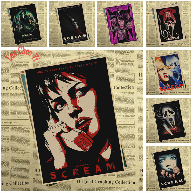 SCREAM Classic Horror Movie Kraft Paper Poster For font b Home b font Decoration Print decorative