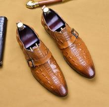 QYFCIOUFU 2019 Crocodile Pattern Genuine Leather Luxury Buckle Wedding Party Dress Shoes Design High Quality Men's Suit Shoes