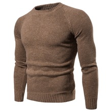 Casual Knitting Round Neck Long Sleeve Slim Fit Male Sweater 2018 Winter American Warm Pure Color Cotton Men Pullover S-2XL