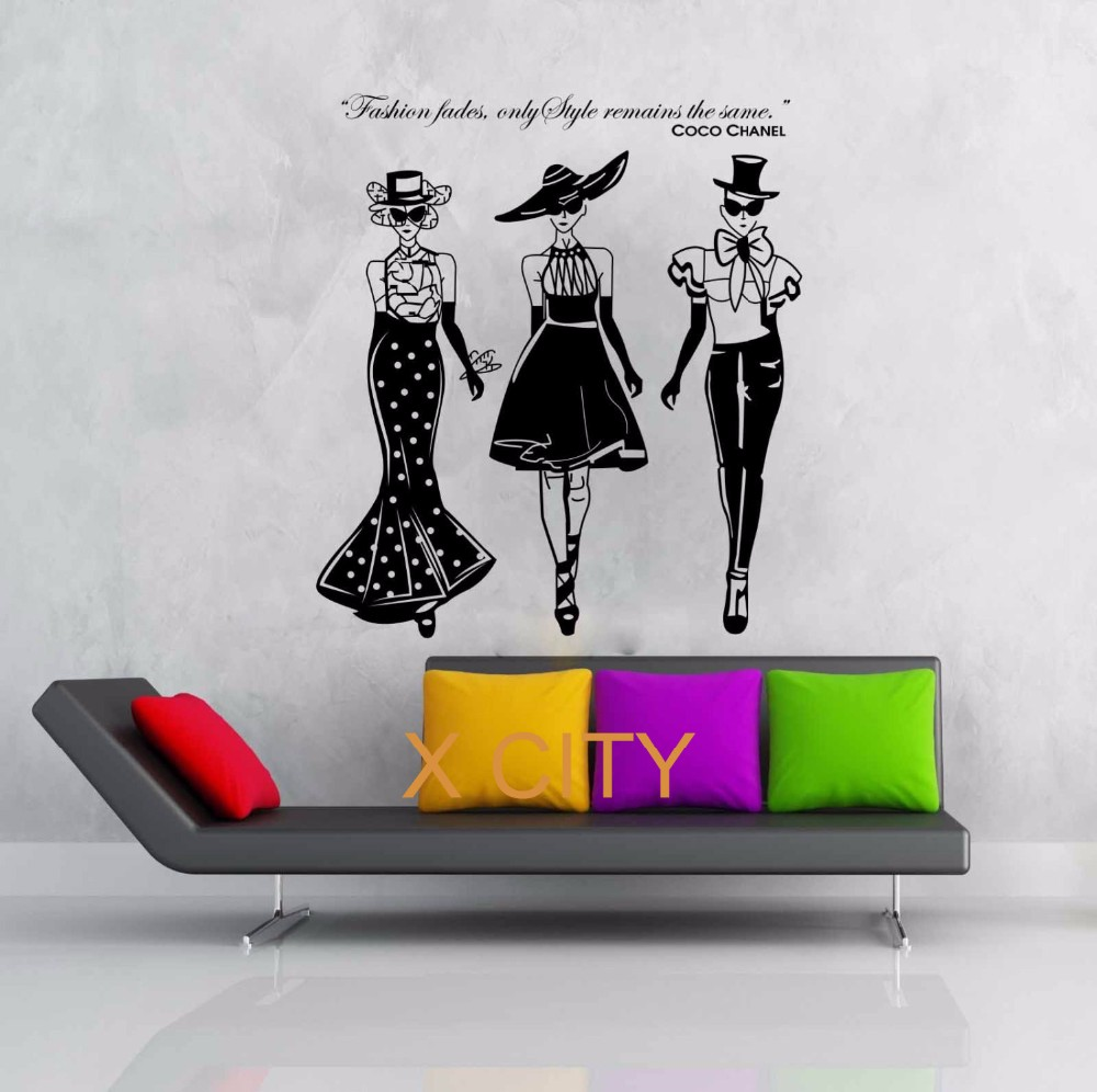 Wall decal new york letter frame cheap stickers world discount - Women Ladies Fashion Show Coco Quote Wall Decal Vinyl Sticker Art Home Decorative Girl Bedroom