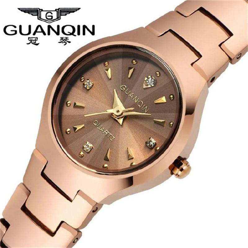 ФОТО GUANQIN Quartz watches Fashion Watch Women Dress relogio feminino waterproof Tungsten Steel gold bracelet watches relojes mujer