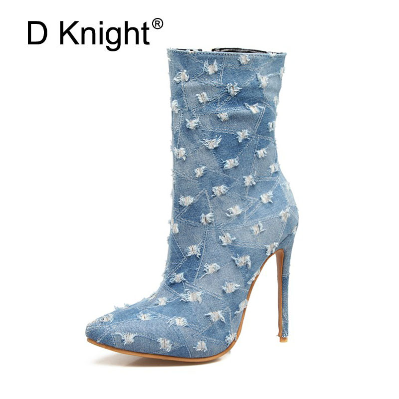 D KNIGHT Demin Blue Women Boots Winter Thin Heel Boots Zip Lady Shoes Woman 2017 Fashion Sexy Pointed Toe Ankle Boots High Heels women shoes high heel for winter boots pointed toe ankle boots for women martin boots fashion zip gladiator women boots