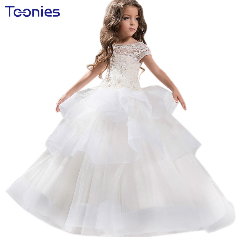 European Flower Girl Vestidos Lace Wedding Dress White