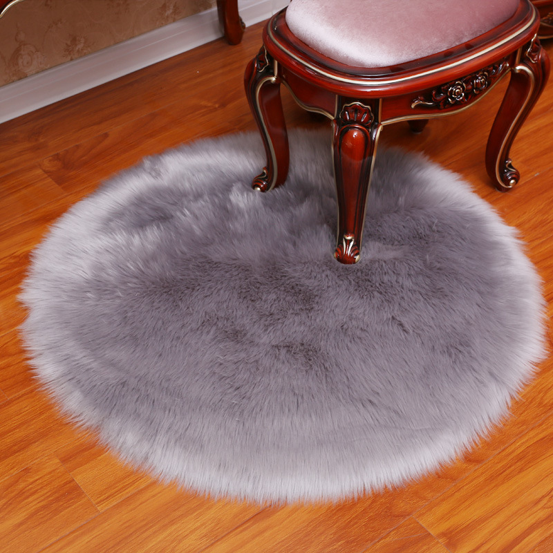 White Grey Plush Faux Fur Fluffy Wool Round Carpet Area