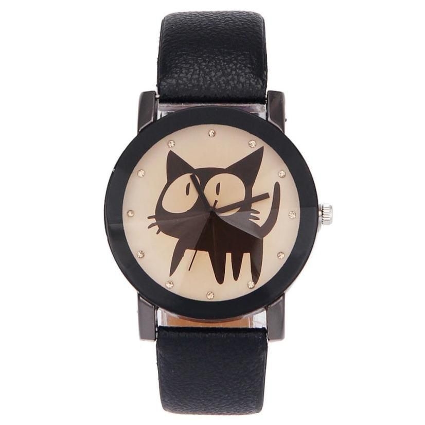 Hot Simple Products Funny Cat Crystal Imitation Leather Quartz Wristwatch Creative Lovely Animal Bracelet Simple Casual Watch