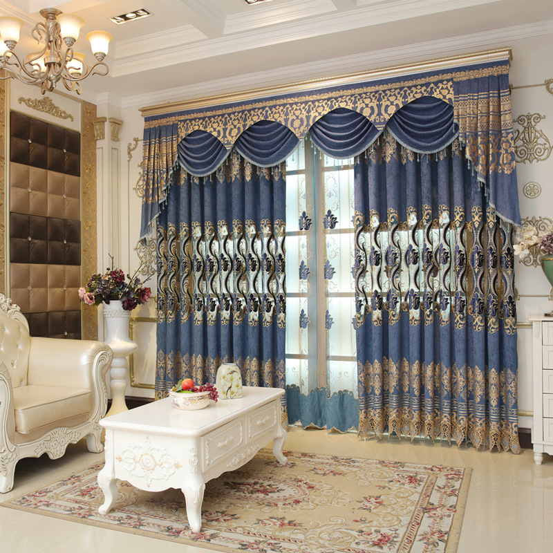 Embroidered Curtain Fabric Elegant Modern European Style Floor Curtains For Living Dining Room Bedroom