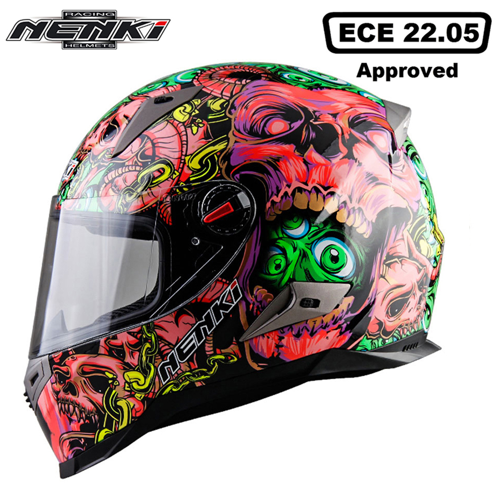 NENKI Motorcycle Helmet Touring Motorbike Helmet Racing Street Moto Casco Men Women Chopper Scooter Cruiser Full Face Helmet ECE