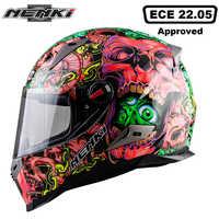 NENKI オートバイヘルメットツーリングバイクヘルメットレーシングストリートモトカスコ男性女性チョッパースクータークルーザーフルフェイスヘルメット ECE