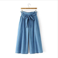 ФОТО woman pants high waist summer jeans new ladies wild banded bow wide leg jeans lacing bow tie pantacourt femme ete