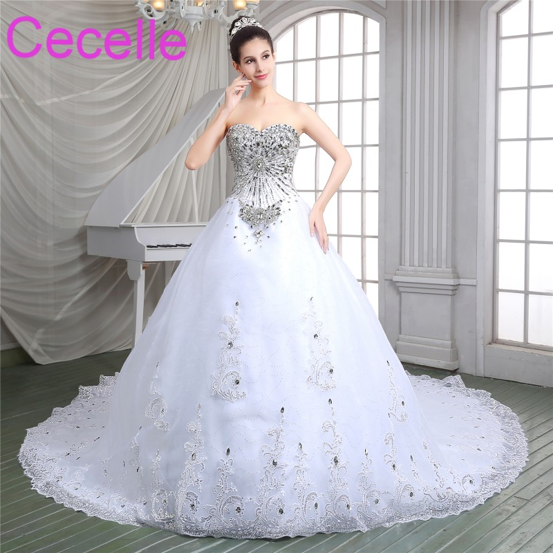 Luxury Beading Crystals Ball Gown Wedding Dresses Sweethear Corset Back Princess Court Bridal Gowns Real Photos Custom Made