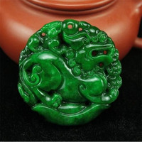 nature jewelry green jade pendant for security and peace pi yao amulet gift box