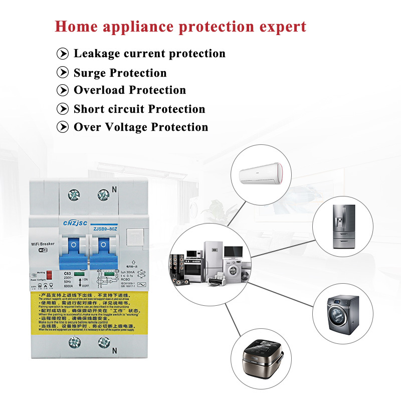 Disjoncteur intelligent de fuite de terre de RCBO de WIFI avec la surveillance d'énergie compatible avec Amazon Alexa, maison de Google pour la maison intelligente - 2