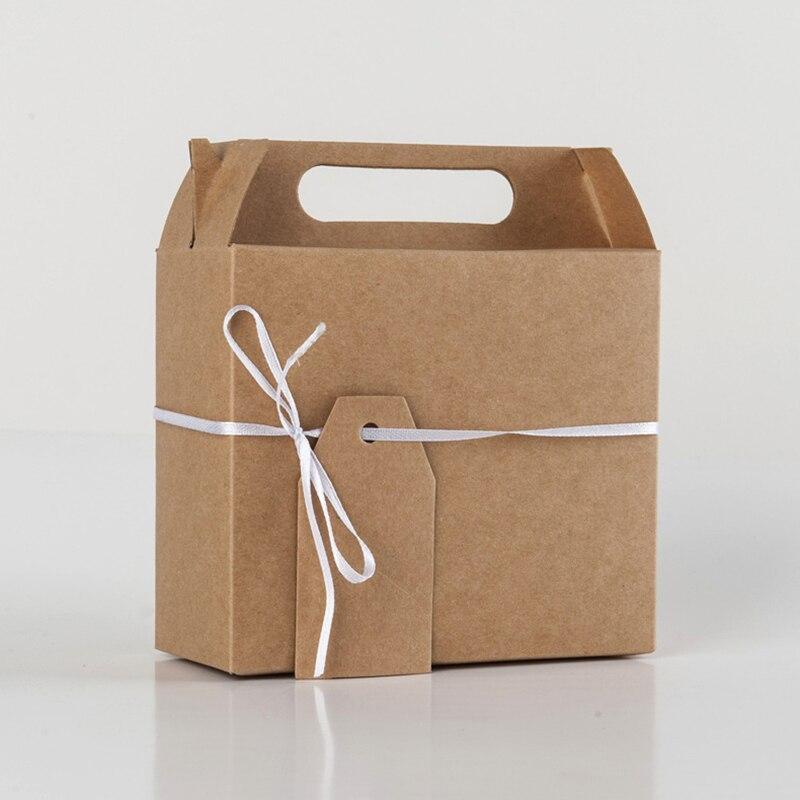 50 pcs grande faveur boîte à bonbons Biscuits sac artisanat papier faveur de mariage boîtes-cadeaux tarte fête boîte sacs écologique kraft promotion - 4