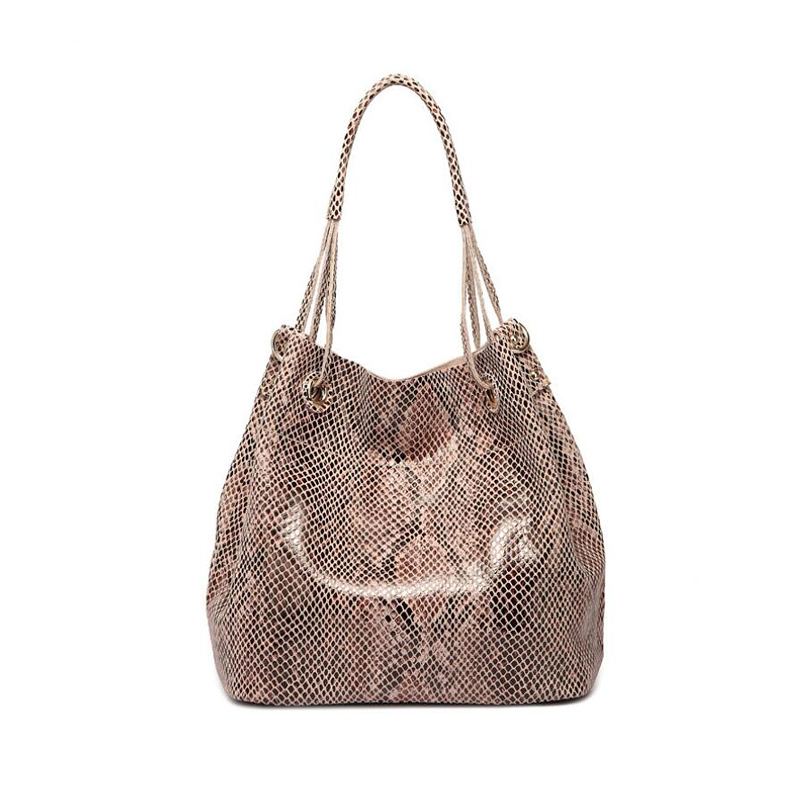 Luxury Brand women snakeskin pattern handbag Hot female genuine leather shoulder bags New  large capacity totes bags for lady 2017 new casual snake pattern genuine leather women handbag serpentine fashion shoulder bag luxury brand designer female totes