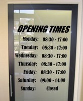Free Shipping Opening Hours Times Shop Sign Font Display Custom Vinyl Wall Window Sticker Art shop decoration wall decals