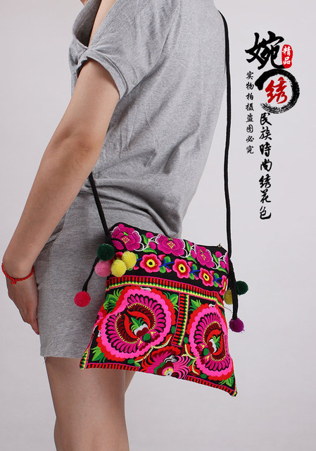 Free Shipping ! Embroidered bags vintage national trend double faced  handmade embroidered cloth shoulder messenger bag