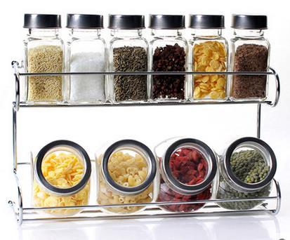 높은 품질 저렴한 가격 조미료 상자 조미료 병 10 맛 정장 주방 용품 유리 스테인레스 스틸 병 6 색