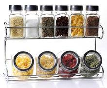 Alta calidad bajo precio condimento botellas caja de condimentos de 10 traje de sabor suministros de cocina de vidrio botellas de acero inoxidable 6 colores