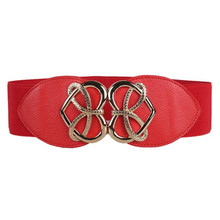 Brand New Women Charming Double Heart Cummerbund Belt Fashion Lady Stretch Elastic Wide Strap Belt Elastic Dress Adornment Oct31