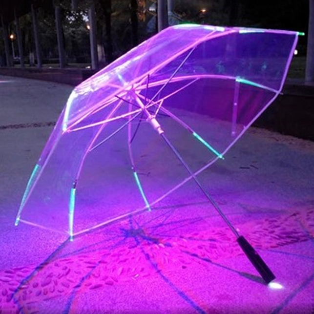 New 7 color Changing Color LED Luminous Transparent Umbrella Rain Kids Women with flashlight for friends Gift