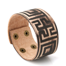 Punk Genuine Leather Geometric Bracelet For Men Women Bangle Cuff Jewelry Bijouterie chic hollowed geometric cuff bracelet for women
