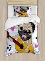 Pug Duvet Cover Set , Pug Dog Playing Guitar Singing with Cute Pink Hearts Funny Animal Cartoon, 4 Piece Bedding Set
