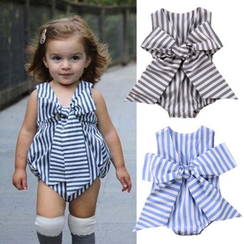7e675a07b Adorable Newborn Baby Girls Clothes Boutique Bow Striped Jumpsuit ...