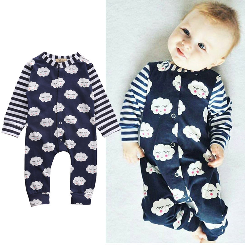 Cute Newborn Infant Baby Boy Girl Clothes Long Sleeve Cotton Cloud Bebes Romper One Pieces Jumpsuit 0-24M 2017 newborn baby boy girl clothes floral infant bebes romper bodysuit and bloomers bottom 2pcs outfit bebek giyim clothing